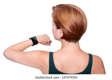 Female arm with a modern Internet Smart Watch on grey background On the screen you can see a videochat. All Texts, Icons, Computer Interfaces of the Smart Watch where created from scratch by myself.