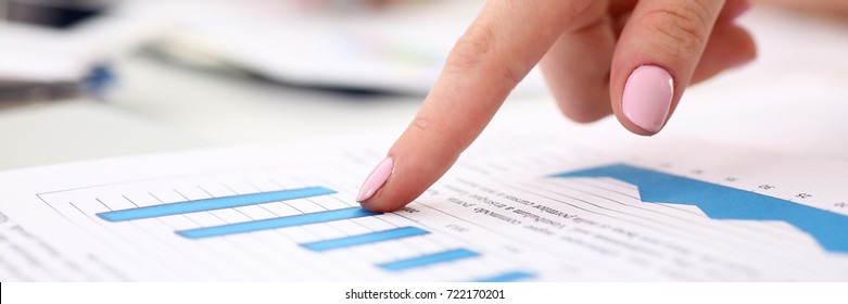 Female arm point finger in financial graph solve and discuss problem closeup. Fresh view at situation, board council, sale adviser, examine profit, audit job, stock exchange market, irs inspector