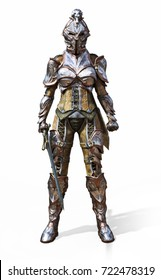 Female armored knight with sword on an isolated white background. 3d rendering