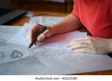 Female artist drawing a woman