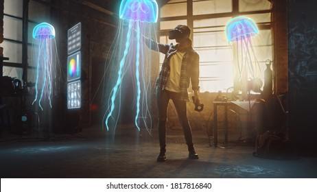 Female Artist Wearing Augmented Reality Headset Working on Abstract 3D Jellyfish Sculpture with Joysticks, Uses Gestures To Create High-Tech Internet Multimedia Concept Art.3D Animation Special Effect