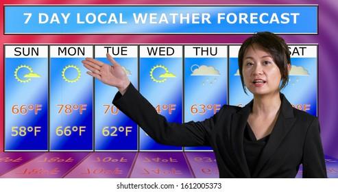 Female Asian American meteorologist gestures to weather chart, original design elements