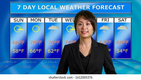 Female Asian American meteorologist reporting weather, original design elements