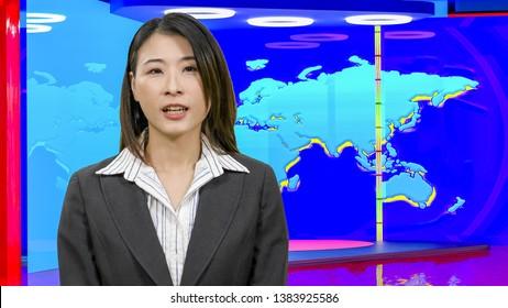 Female Asian American News anchorwoman in virtual TV studio, original design elements