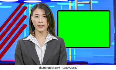 Female Asian American News anchorwoman in virtual TV studio with green screen suspended display, original design elements