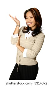 Female Asian businesswoman in a gesture of presenting, one palm facing upwards and away. Isolated on white background.