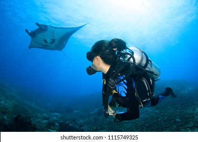 Female Asian Scuba Diver encounters a Manta Ray in Komodo National Park in Indonesia