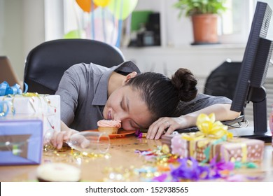 Female Asleep After Party at Office