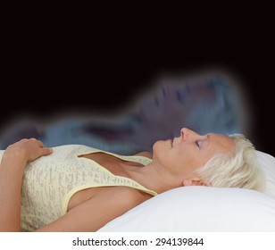 Female Astral Projection Experience - Female lying supine with eyes closed experiencing astral projection on dark background showing soul leaving body