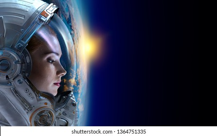 Female astronaut in space on planet orbit.