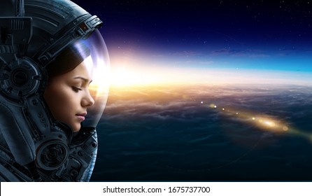 Female astronaut in space on planet orbit. . Mixed media