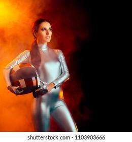 Female Astronaut Spatial Mission Sci-Fi Portrait. Cosmonaut woman wearing spacesuit and helmet