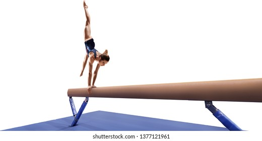 Female athlete doing a complicated exciting trick on gymnastics balance beam on white background. Isolated Girl perform stunt in bright sports clothes