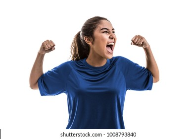 Female athlete / fan on blue uniform celebrating on white background