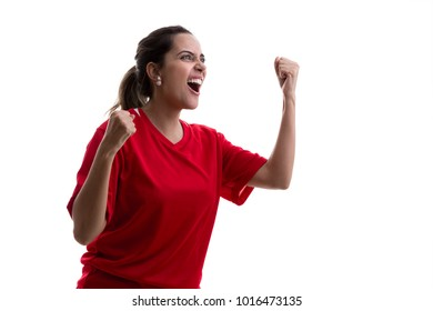 Female athlete fan on red uniform celebrating on white background