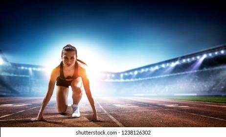 Female athlete ready to run. Mixed media