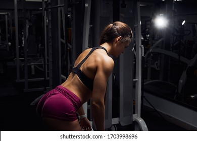 female athlete use barbell for weightlifting at the gym. Strong fitness woman in sportswear training back.