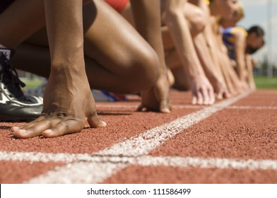 Female athletes at starting line
