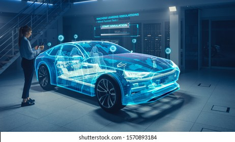 Female Automotive Engineer Uses Digital Tablet with Augmented Reality for Car Design Analysis and Improvement. 3D Graphics Visualization Shows Fully Developed Vehicle Prototype Analysed and Optimized