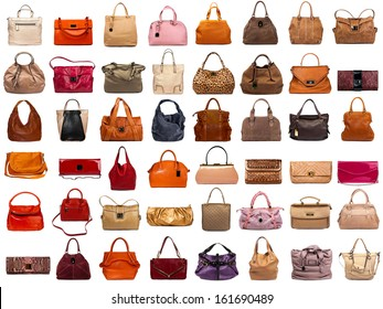 Female bags collection on white background