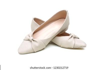 Female ballerina flat shoes isolated