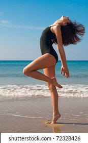 Female, Ballet Dancing/Exercising on the Beach.