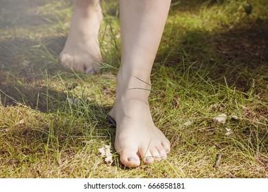 Female barefoot legs walking in nature