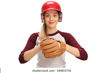 Female baseball player with a glove isolated on white background