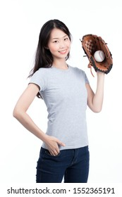 Female baseball player ready to pitch isolated on white background