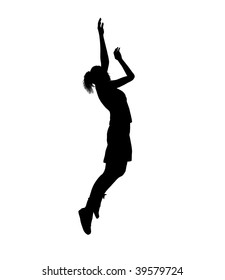 Female basketball player silhouette on a white background