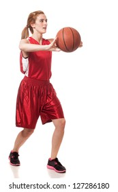 Female basketball player. Studio shot over white.