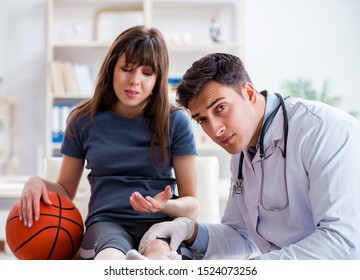 Female basketball player visiting doctor after injury