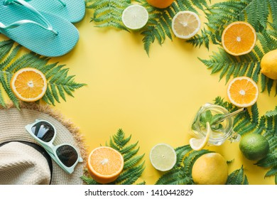 e1d79e93 Space for text. Summer. Female beach straw sunhat, sunglasses, flip flops  on punchy yellow. Top view and