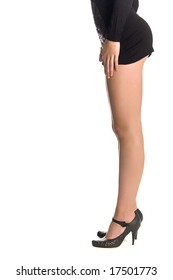 female beautiful legs isolated on the white
