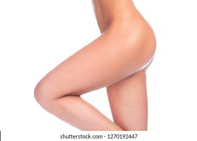 Female beauty, body and legs isolated on white background. Skin care concept. Unwanted hair removal