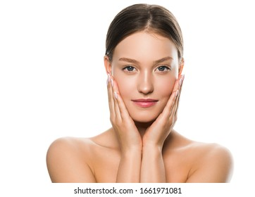 Female beauty natural fresh clean skin beautiful woman face