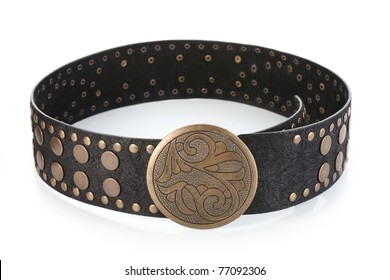 Female belt with flower shaped buckle, isolated on white