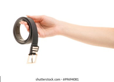 Female belt in a female hand on a white background isolation