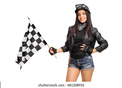 Female biker waving a checkered race flag isolated on white background