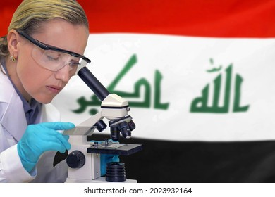Female biochemist mixing substances to study under the microscope against Iraq flag background. Medical technology and pharmaceutical research and development of science concept in Iraq