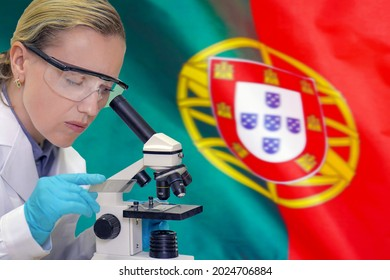 Female biochemist mixing substances to study under the microscope against Portugal flag background. Medical technology and pharmaceutical research and development of science concept in Portugal