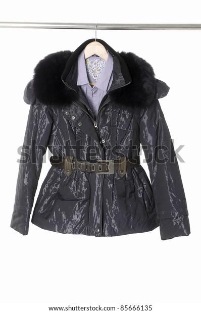 Female black jacket isolated on hanging
