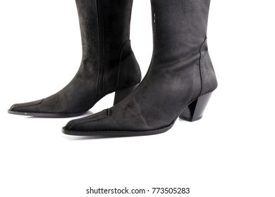 Female black leather boot on white background, isolated product, comfortable footwear.