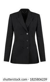 Female blazer on isolated background. Women's black jacket. Front view