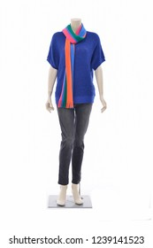 female in blue dress with ,jeans, sweater scarf on full mannequin-white background