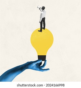 Female blue hand holding yellow bulb as idea symbol with young man, office worker isolated on light background. Contemporary art collage. Inspiration, idea. Concept of occupation, business, ad. - Shutterstock ID 2024166998