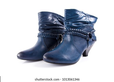 Female blue leather boot on white background, isolated product, comfortable footwear.
