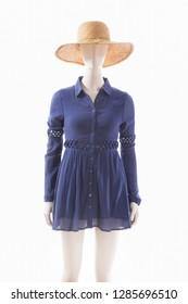 female blue sundress ,hat on a dummy isolated