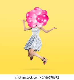 Female body in light dress headed by pink balloons against yellow background. Negative space to insert your text. Modern design. Contemporary art collage. Vacation, summer, resort.
