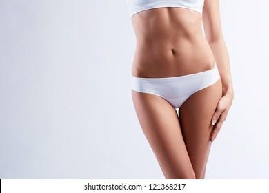 Female body on white background